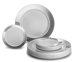 OCCASIONS 240 片一次性塑料盘子套装 - 120 x 10.25 英寸晚餐 + 120 x 6.25 英寸甜点盘 Diamond White/Silver 43219-23247