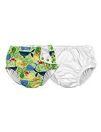 i play。 男婴可重复使用吸水游泳尿布,2 件装  白色/青柠色海豹 4T