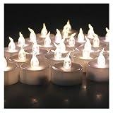 AGPtek 100 件电池供电 LED 无焰茶灯蜡烛灯适用于婚礼圣诞派对装饰 Flickering Warm White DE15S-AGP