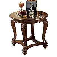 Benjara 木制圆形桌子带敞篷车腿和玻璃顶,棕色