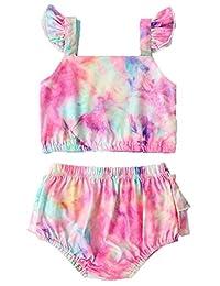 2 件套幼童女童美人鱼泳衣挂脖无袖露脐上衣+鱼印花短裤泳装比基尼夏季套装