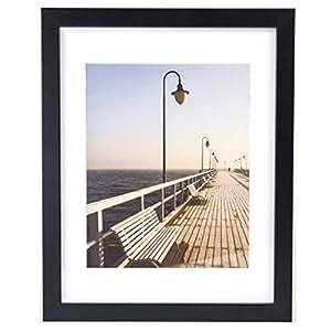 黑色照片海报墙框 - 照片展示带斜面垫。 优质欧洲工艺,环保木材和无铅玻璃 黑色 11x14