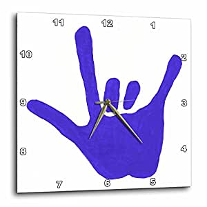 3dRose dpp_13584_2 Love Sign Language Blue-Wall Clock, 13 by 13-Inch