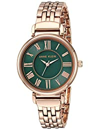Anne Klein 女士時裝腕表(型號:AK/2158GNRG),玫瑰金/綠色,均碼