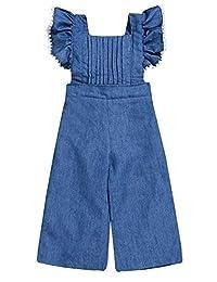 Yoveme 幼儿女婴夏季服装连体服露背牛仔裤吊带裤裤铃裤蓝色裤子