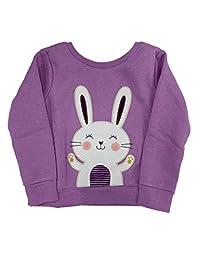 婴儿和幼儿女童紫色兔子羊毛运动衫上衣婴儿衬衫