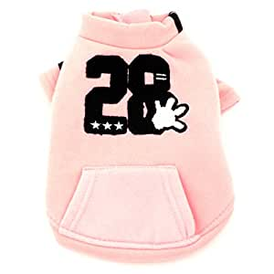 SMALLLEE_Lucky_Store 大衣羊毛衬里运动衫夹克印花小狗宠物服装 Han 版 粉红色 M