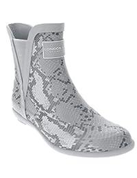London Fog 女士 Piccadilly 雨靴 灰色蛇形 8