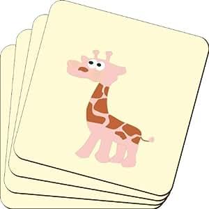Rikki Knight 粉色长颈鹿设计柔软方形啤*杯垫(2 件套),多色