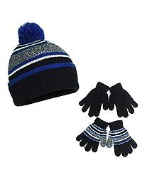 条纹弹力针织袖口无檐小便帽冬季毛球帽和 2 件装手套礼品套装