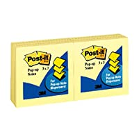 Post-it Notes Original Pop-up Refill, 3 x 3 Inches, Canary Yellow, 100 Sheets per Pad, Six Pads per Pack (R330-YW6PK)