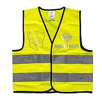 POS 31476 – 儿童警告背心,印有流行的狗狗巡逻队主题,霓虹黄色,适合6至10岁的男孩和女孩
