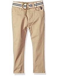 U.S. Polo Assn. 男童直筒牛仔裤 Stripe Belt Dye Ring Light Khaki 4T