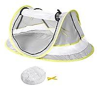 婴儿旅行床便携式超轻折叠婴儿沙滩帐篷 POP UP UPF 50+ UV 旅行铃***灯罩适用于婴儿下2岁