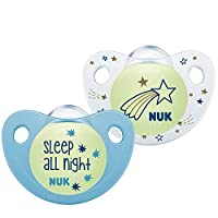 NUK 夜间和日间硅胶安抚奶嘴 6-18 个月 蓝色