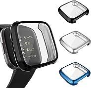 3 件裝屏幕保護膜兼容 Fitbit Versa 2 保護套,GHIJKL 超薄柔軟 TPU 保護套全覆蓋緩沖外殼適用于 Fitbit Versa 2 智能手表 Versa 2: Black, Silver, Blue