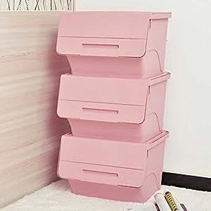 喜禾 Hiho 斜口翻盖塑料整理箱收纳箱 可叠加收纳盒 3个装 (珊瑚粉)