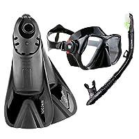 WACOOL 浮潜套装适用于成人,防雾涂层玻璃潜水面罩,吸管带硅胶嘴,清洁阀和防溅罩,带旅行短游泳脚蹼