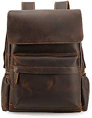 Tiding 男士疯马皮背包休闲旅行包书包大号帆布背包背包背包书包背包书包适合15.6英寸笔记本电脑