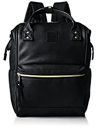 anello 帆布背包 人造皮革大号 金属支架开口背包 AT-B1211 BK (黑色)