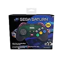 Retro-Bit Official SEGA Saturn 2.4Ghz Wireless Arcade Pad for MEGA DRIVE MINI CONSOLE, Sega Mega Drive Console, PC, Switch, macOS, Playstation 3, Steam, RetroPie, Raspberry Pi (Slate Grey)