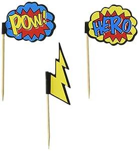 Ginger Ray Comic Superhero Pow & Hero Party Cupcake Picks (20 Pack), Mixed