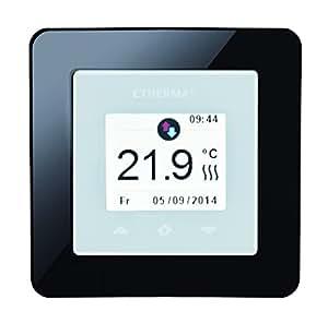 Etherma ETOUCH 带触摸板的 Schaltereinbauthermostat 16 A 5-40 °C,包含 2 个白色/黑色,39300