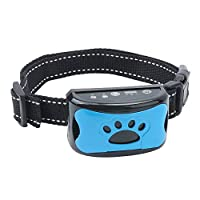 TLOG 可充电狗吠项圈,吠叫控制训练项圈,蜂鸣振动和 7 种可调节灵敏度,防吠项圈,无伤害防震防吠设备,适用于中小型犬