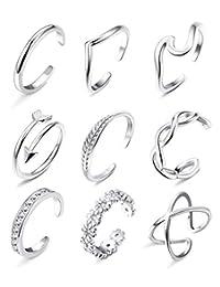 Besteel 9 件套女式露趾戒指箭花结可调节开尾戒指带海滩*首饰套装 银色
