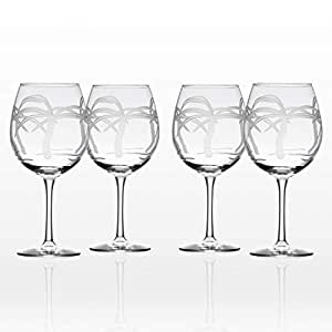 Rolf Glass Palm Tree Balloon Glass (Set of 4), 18 oz, Clear