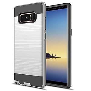Galaxy Note 8 手机壳,Rosebono 2 件式纤薄刷纹理保护性混合防护装甲手机壳适用于三星 Galaxy Note 8 银色