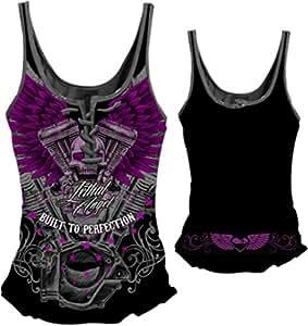 """致命威胁女式衬衫(V 双头骷髅系带背心)(),1 件 XX-L """"Multi"""" LT20321-1X"""