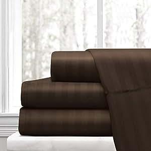 床单奢华柔软奢华埃及棉 - 床单套装 (99.06x190.5) 床垫颜色 纯色 1800 支深口适合 35.56-40.64 cm Chocolate (Stripe) Queen