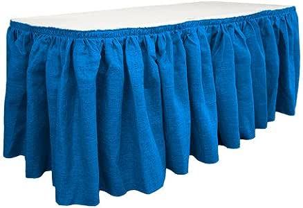 LA Linen 超大粗麻布桌裙 76.20 cm x 73.66 cm,带 50.80 cm L 形夹。 美国制造 皇家蓝 SkirtBurlap30X29_20Lclips_BlueRoyal