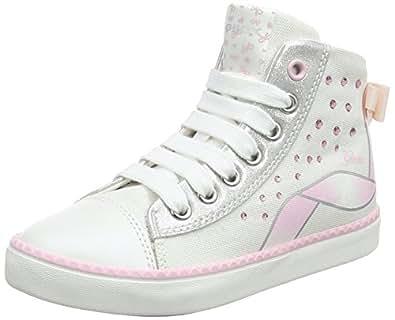 Geox Girls' JR Ciak B Hi-Top Trainers, White (White/LT Pink C0814), 1.5 UK