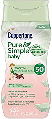 Coppertone Pure & Simple Baby Tear Free Mineral-Based Sunscreen Lotion Broad Spectrum SPF 50 (6 Fluid Ounc