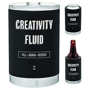 三合一不锈钢罐冷藏器 | 瓶架 | 325ml 带盖玻璃杯 | 双壁铜真空保温 | 送礼佳品 哑光黑色