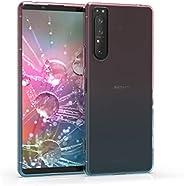 kwmobile 手机壳与索尼 Xperia 1 II 兼容 - 透明 TPU 柔软智能手机套 - 双色深粉色/蓝色/透明