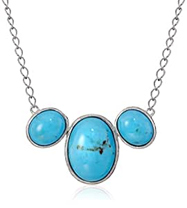 """Sterling Silver Oval Cab Turquoise Chain Necklace, 18"""""""