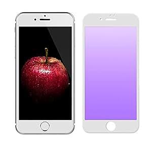 "iPhone 7 屏幕保护膜,NENRENT 0.28MM 3D 弧边到边缘全屏覆盖紫色光眼保护防刮高清钢化玻璃屏幕保护膜 适用于 iPhone 7 iPhone 7 (4.7"")-White Soft Edge"