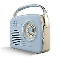 Akai 复古收音机带 AM 和 FM 收音机功能,内置 USB,水晶透明 5 W 单声道扬声器,AM 530-1600 KHz/FM 88-108 MHz,22O V/50 Hz,电池或电源供电A60014VB