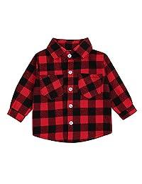 儿童小男孩女孩婴儿长袖系扣红色格子棉衬衫格子女孩男孩 NB-3T