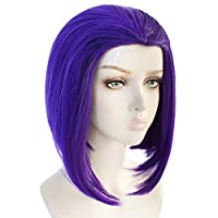 JoneTing 紫色假发角色扮演女孩短款波波头假发波浪合成假发,适用于游戏角色扮演服装 average