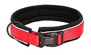 Pet Cuisine 氯丁橡胶尼龙反光可调狗狗项圈 适合步行跑步远足和训练 红色 L