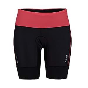 ZOOT SPORTS Women's Performance Tri 8-Inch Short, X-Small, Black/Pink Grapefruit