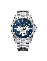 Citizen 西铁城男式石英不锈钢表带,银色,22 休闲手表(型号:AG8340-58L)