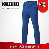 加厚加绒高尔夫裤子男士长裤秋冬防水球裤保暖男裤服装KUZ007蓝色 XXS