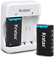 適用于 Xbox 電池和充電器 Kratax 2 件裝 2500mAh 鎳氫充電電池和充電器 適用于 Xbox One/Xbox One S/Xbox One X/Xbox One Elite 系列無線控制器