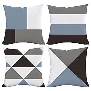 "BLEUM CADE 4 件套亮片靠垫套双面美人鱼抱枕套沙发装饰 几何图形 18"" x 18"""