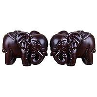 TAIJI 太吉 富贵吉祥平安象一对 黑檀木雕刻 约长10厘米宽5.6厘米高7.2厘米 家居摆放及办公桌摆放